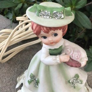 Vintage Accents - Kitschy Vintage Girl in Green Night Light Portable